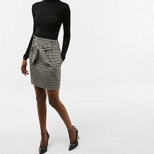 High Waisted Houndstooth Sash Waist Skirt